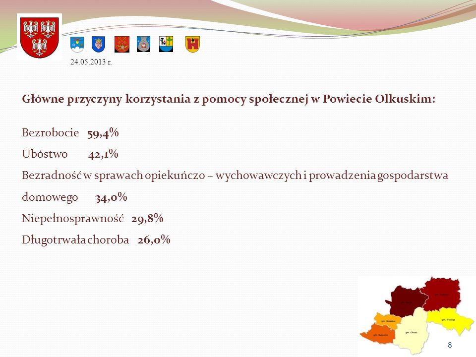 Główne przyczyny korzystania z pomocy społecznej w Powiecie Olkuskim: