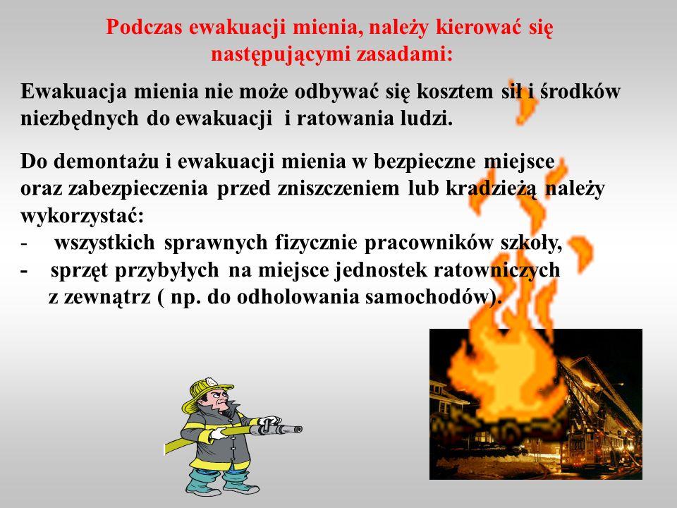 Podczas ewakuacji mienia, należy kierować się następującymi zasadami:
