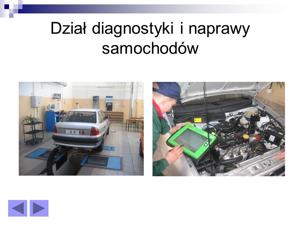 Dział diagnostyki i naprawy samochodów