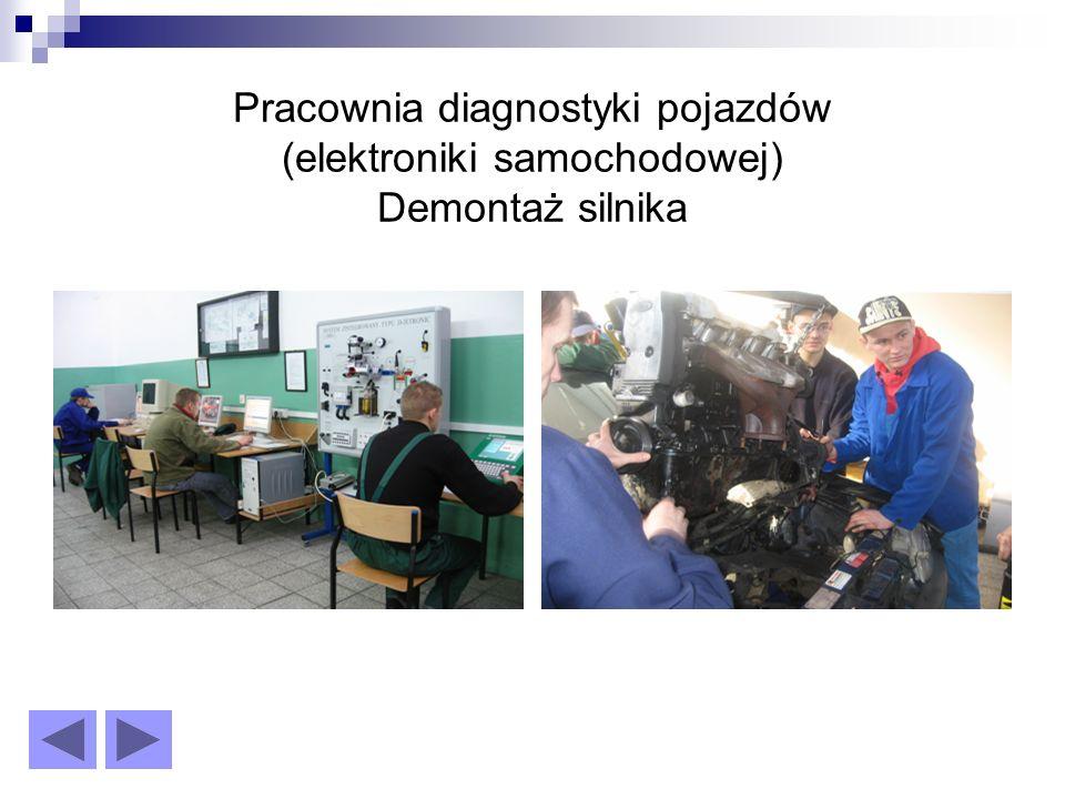 Pracownia diagnostyki pojazdów (elektroniki samochodowej) Demontaż silnika