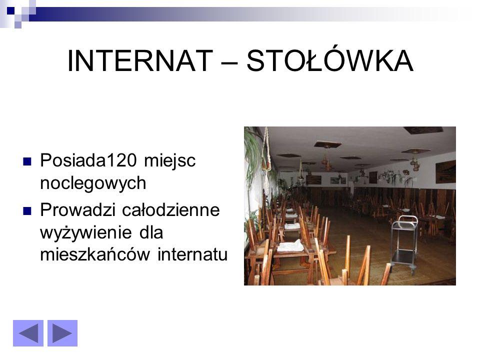 INTERNAT – STOŁÓWKA Posiada120 miejsc noclegowych