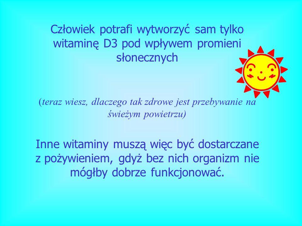 Człowiek potrafi wytworzyć sam tylko witaminę D3 pod wpływem promieni słonecznych