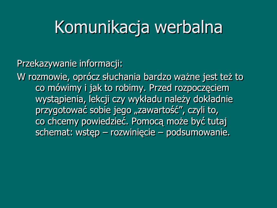 Komunikacja werbalna Przekazywanie informacji: