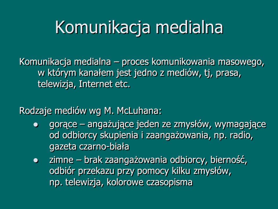 Komunikacja medialna Komunikacja medialna – proces komunikowania masowego, w którym kanałem jest jedno z mediów, tj, prasa, telewizja, Internet etc.