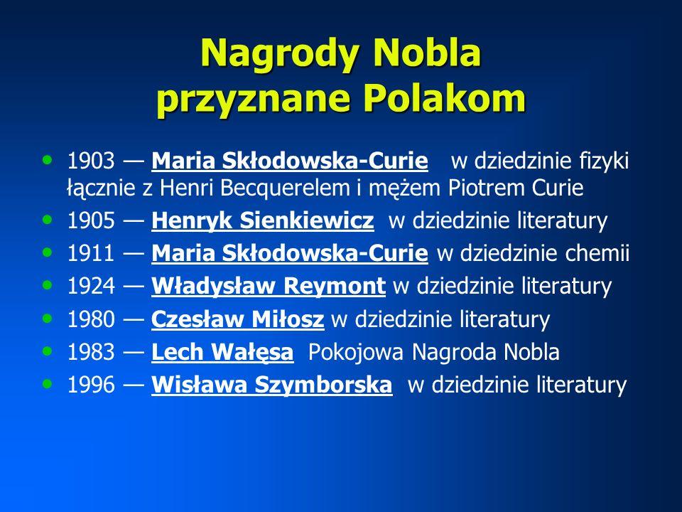Nagrody Nobla przyznane Polakom