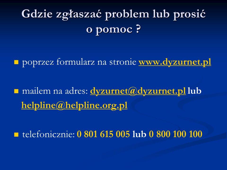 Gdzie zgłaszać problem lub prosić o pomoc