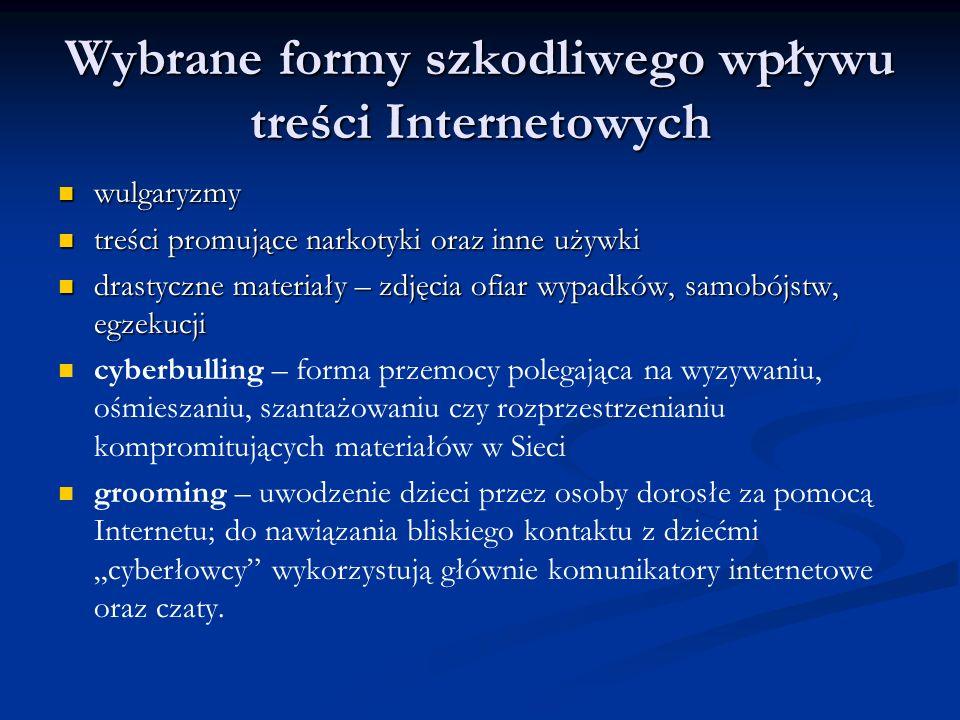 Wybrane formy szkodliwego wpływu treści Internetowych