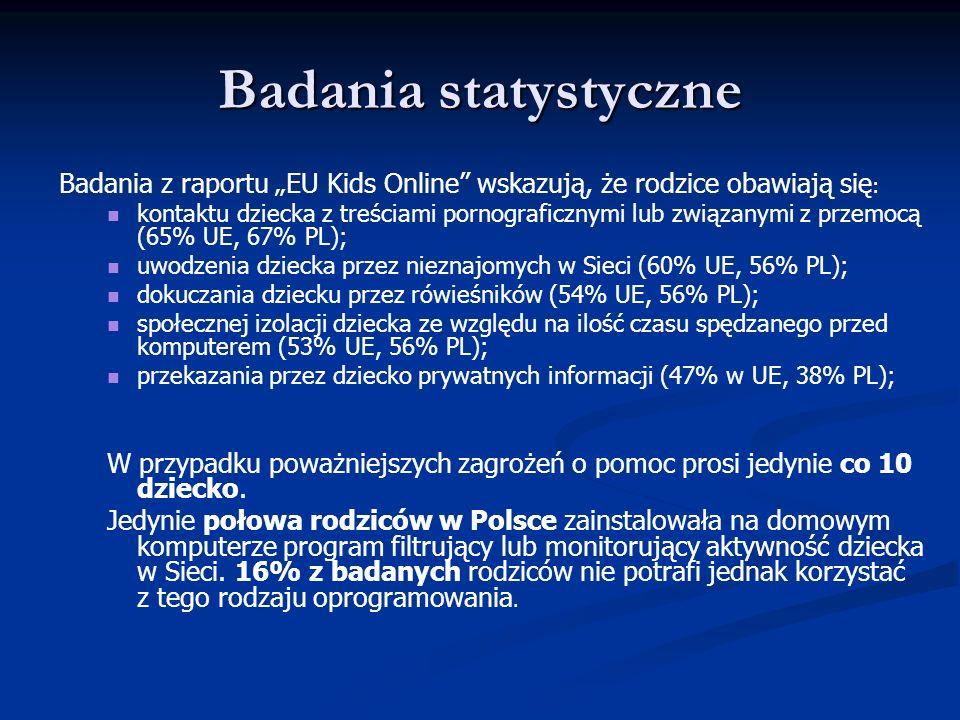 """Badania statystyczne Badania z raportu """"EU Kids Online wskazują, że rodzice obawiają się:"""