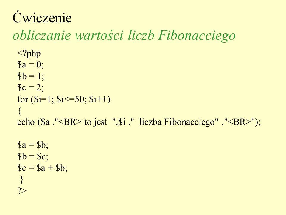 Ćwiczenie obliczanie wartości liczb Fibonacciego