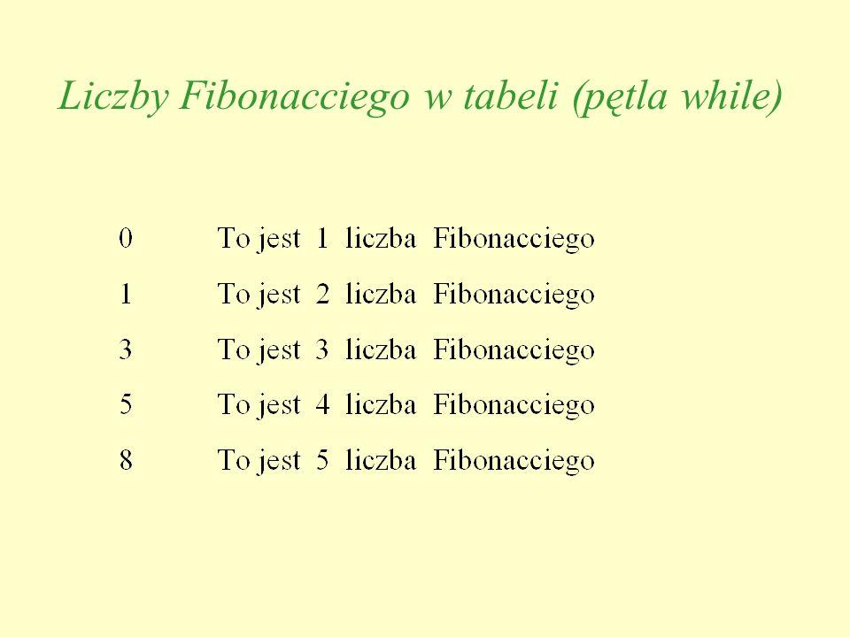 Liczby Fibonacciego w tabeli (pętla while)