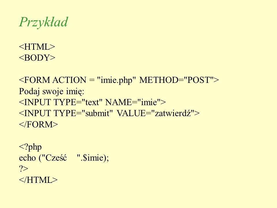 Przykład <HTML> <BODY>