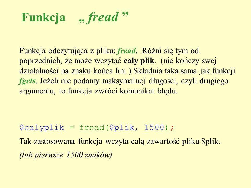 """Funkcja """" fread"""
