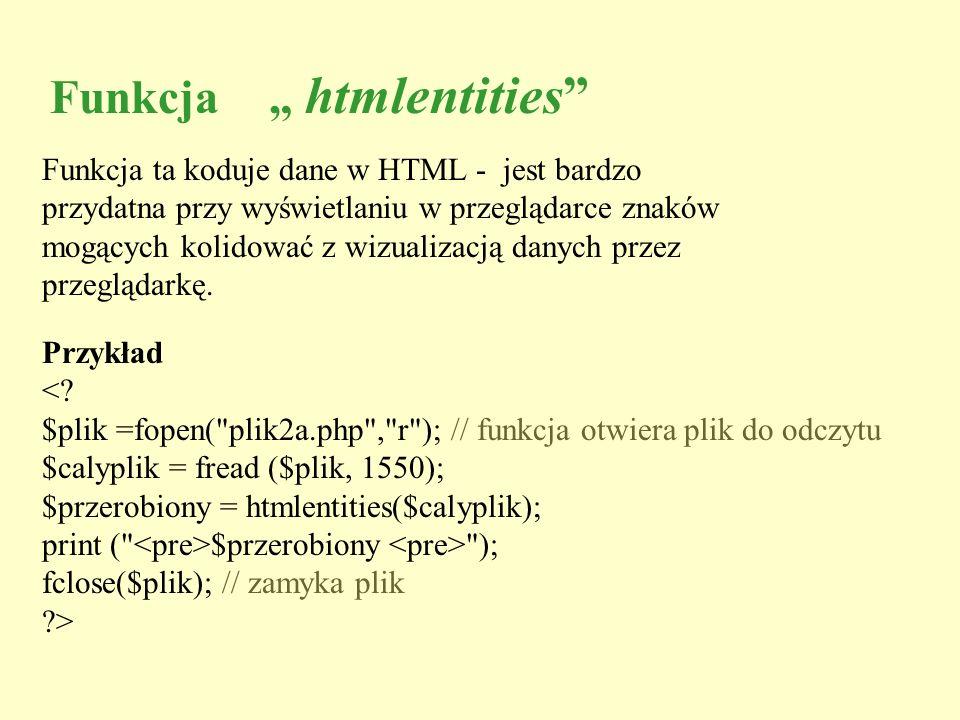 """Funkcja """" htmlentities"""