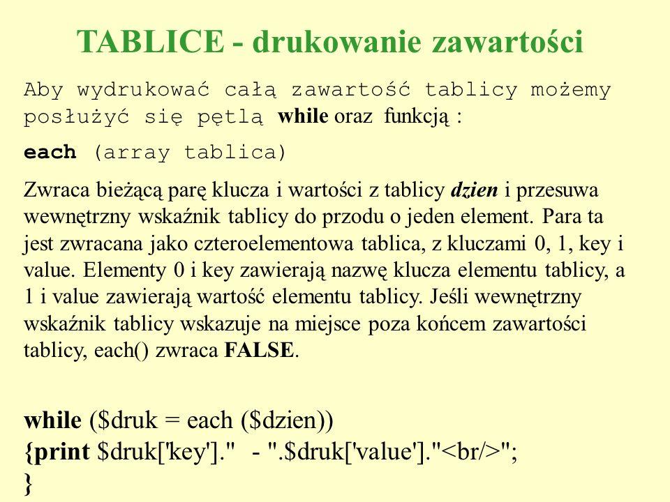 TABLICE - drukowanie zawartości