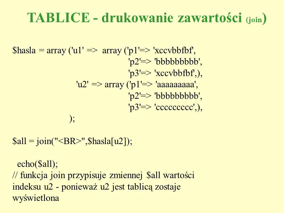 TABLICE - drukowanie zawartości (join)