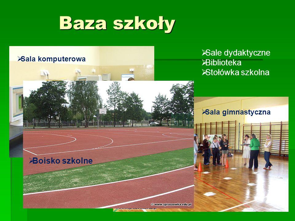 Baza szkoły Sale dydaktyczne Biblioteka Stołówka szkolna