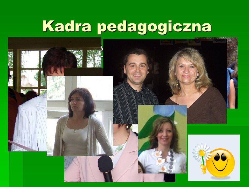Kadra pedagogiczna Mamy wyższe wykształcenie magisterskie z przygotowaniem pedagogicznym. Realizujemy stopnie awansu (9 dyplomowanch, 7 mianowanych)