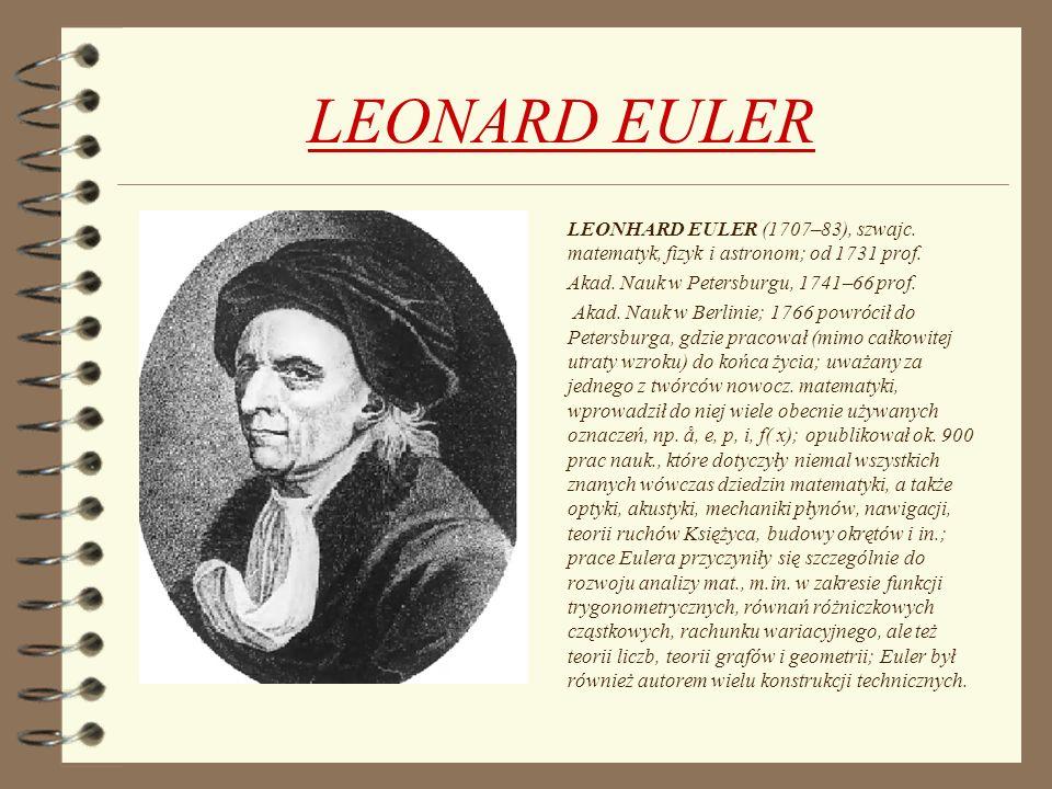 LEONARD EULER Akad. Nauk w Petersburgu, 1741–66 prof.