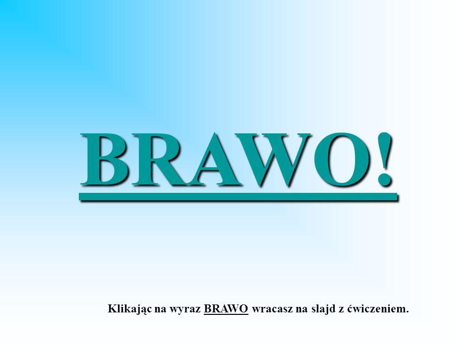 BRAWO! Klikając na wyraz BRAWO wracasz na slajd z ćwiczeniem.