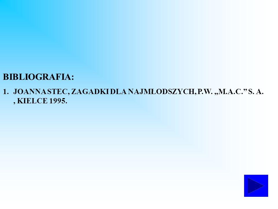"""BIBLIOGRAFIA: JOANNA STEC, ZAGADKI DLA NAJMŁODSZYCH, P.W. """"M.A.C. S. A. , KIELCE 1995."""