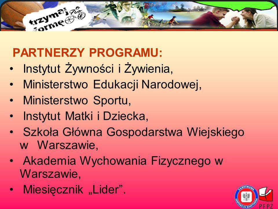 PARTNERZY PROGRAMU: Instytut Żywności i Żywienia, Ministerstwo Edukacji Narodowej, Ministerstwo Sportu,