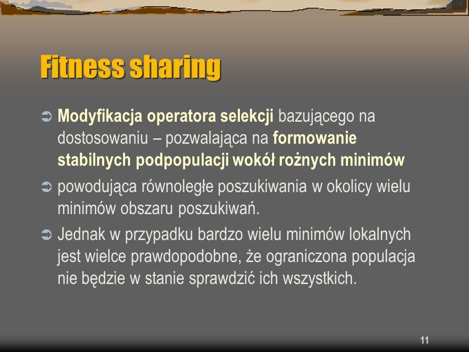 Fitness sharing Modyfikacja operatora selekcji bazującego na dostosowaniu – pozwalająca na formowanie stabilnych podpopulacji wokół rożnych minimów.