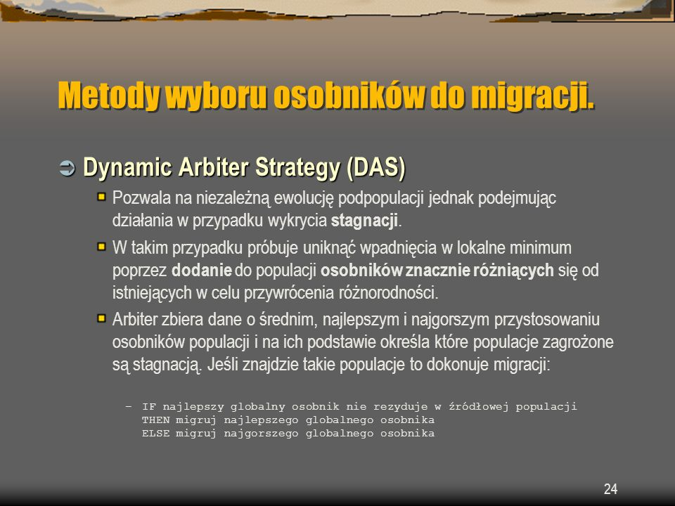 Metody wyboru osobników do migracji.