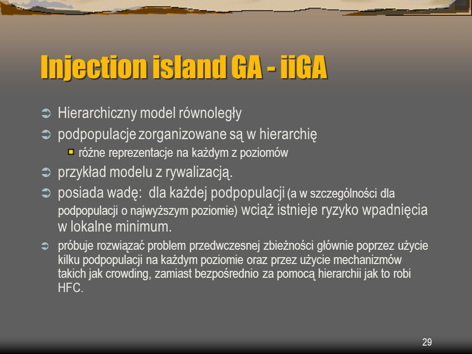 Injection island GA - iiGA