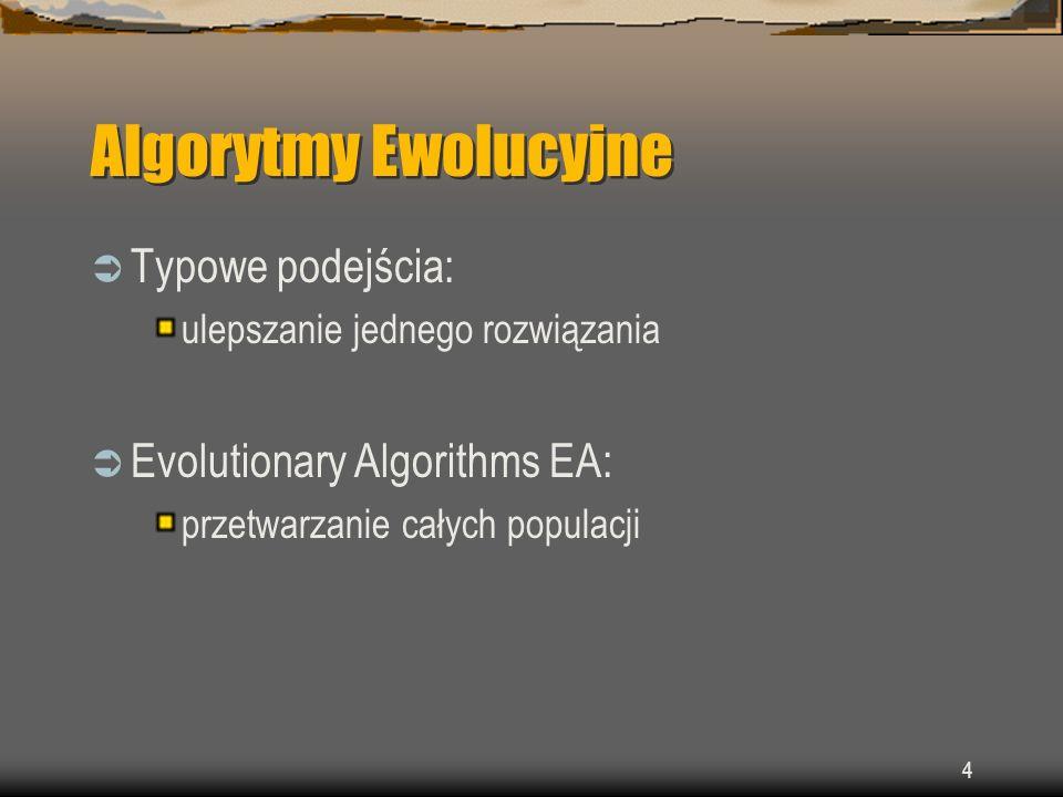 Algorytmy Ewolucyjne Typowe podejścia: Evolutionary Algorithms EA: