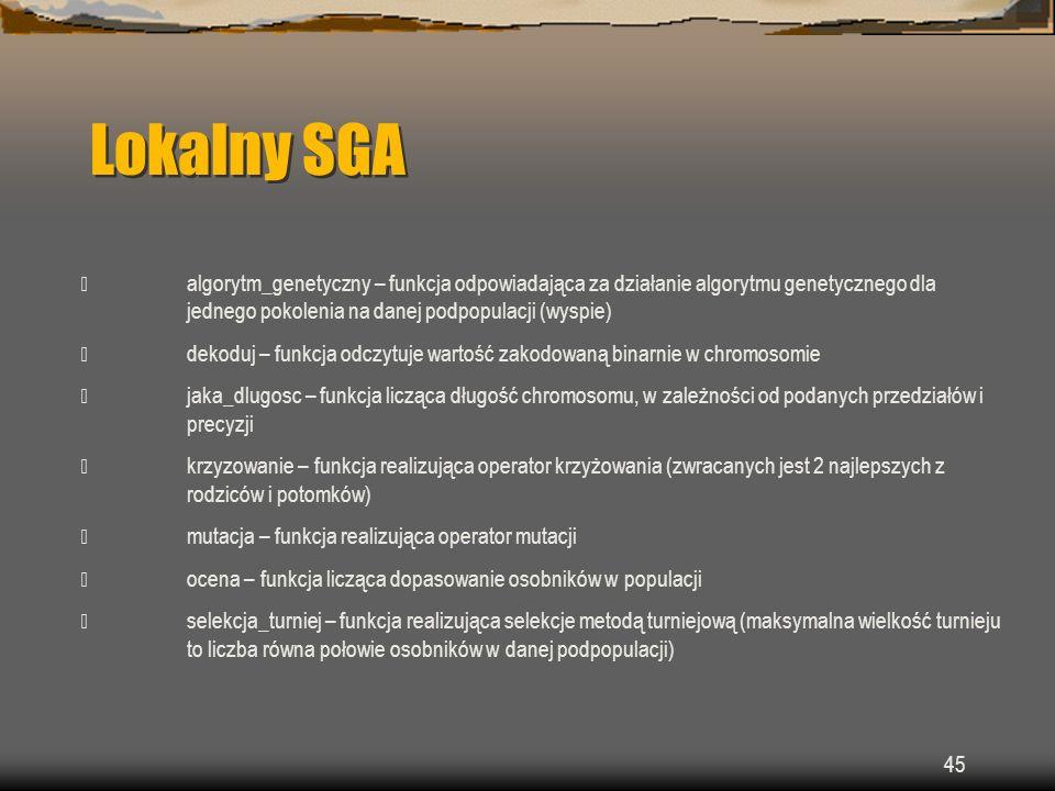 Lokalny SGA  algorytm_genetyczny – funkcja odpowiadająca za działanie algorytmu genetycznego dla jednego pokolenia na danej podpopulacji (wyspie)