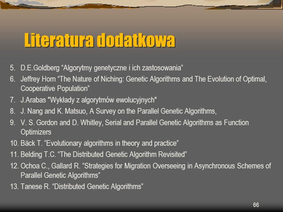 Literatura dodatkowa 5. D.E.Goldberg Algorytmy genetyczne i ich zastosowania