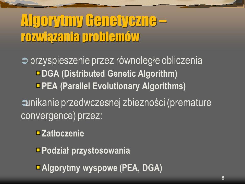 Algorytmy Genetyczne – rozwiązania problemów