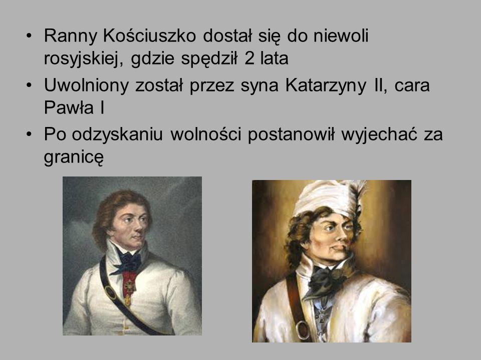 Ranny Kościuszko dostał się do niewoli rosyjskiej, gdzie spędził 2 lata