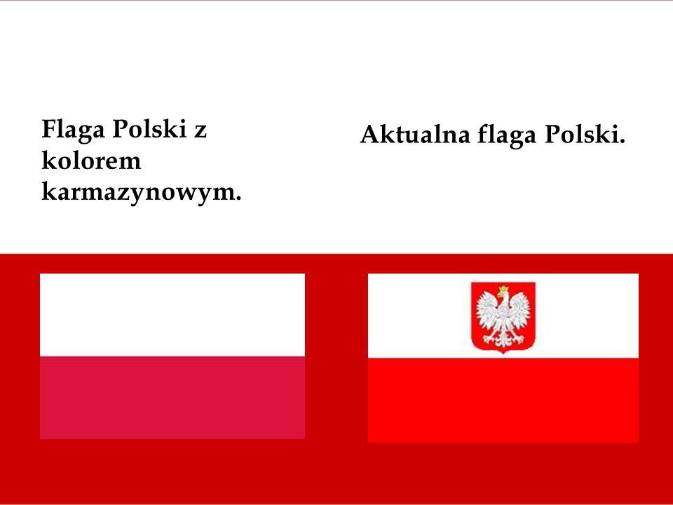 Flaga Polski z kolorem karmazynowym.
