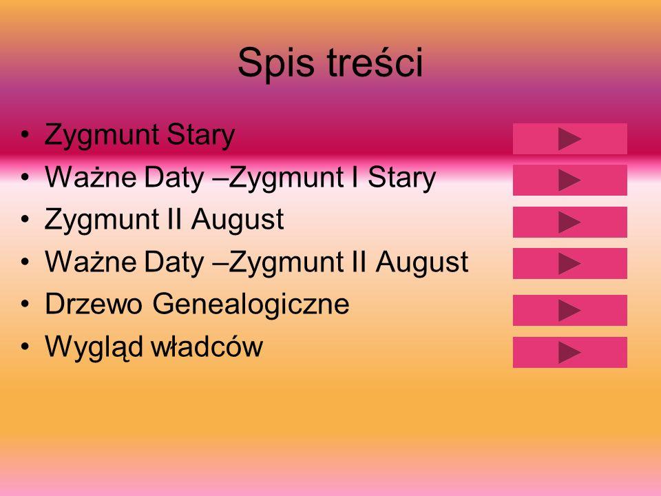 Spis treści Zygmunt Stary Ważne Daty –Zygmunt I Stary