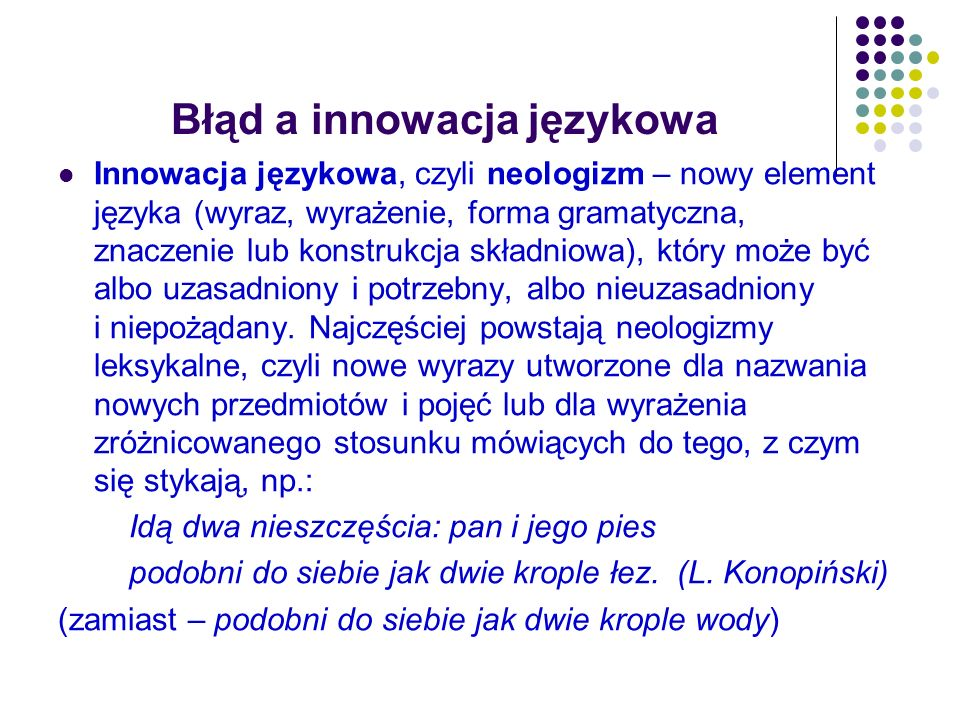 Błąd a innowacja językowa