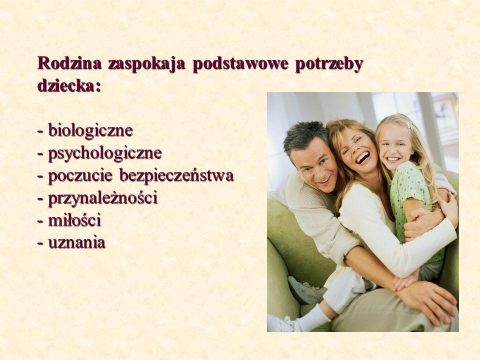 Rodzina zaspokaja podstawowe potrzeby dziecka: