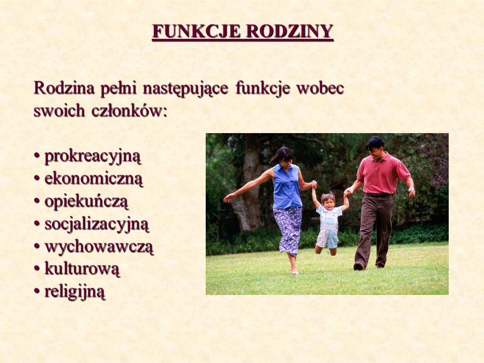 FUNKCJE RODZINYRodzina pełni następujące funkcje wobec swoich członków: prokreacyjną. ekonomiczną. opiekuńczą.