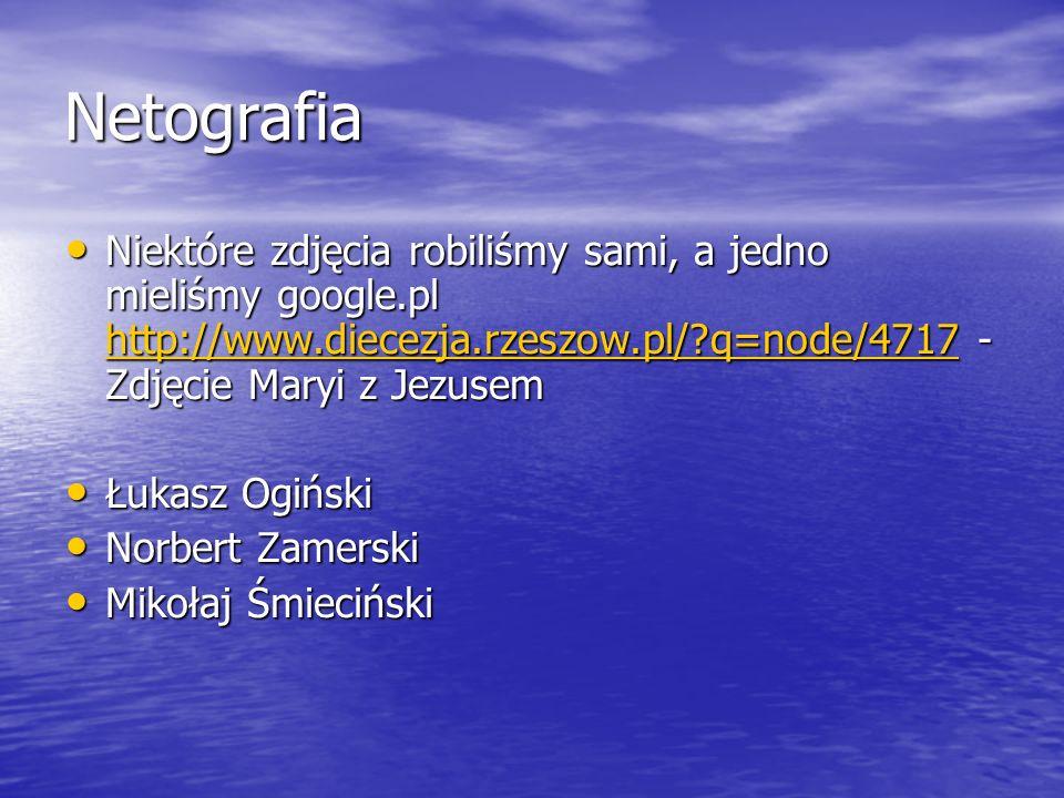 Netografia Niektóre zdjęcia robiliśmy sami, a jedno mieliśmy google.pl http://www.diecezja.rzeszow.pl/ q=node/4717 - Zdjęcie Maryi z Jezusem.