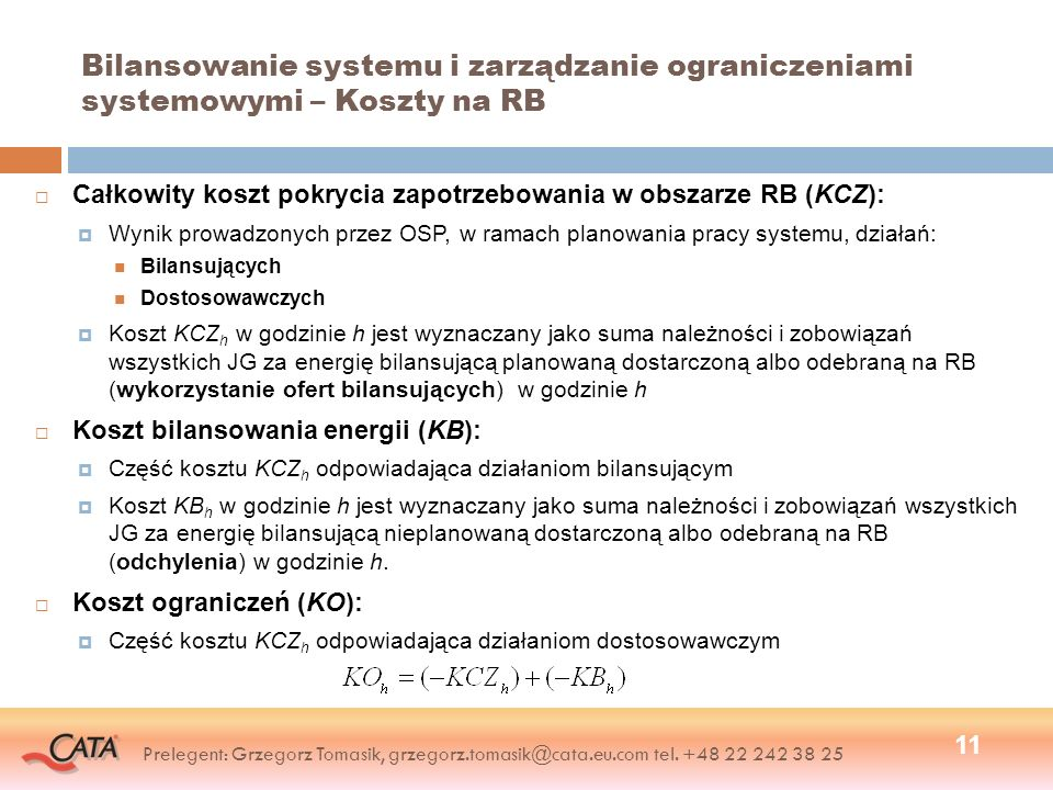 Bilansowanie systemu i zarządzanie ograniczeniami systemowymi – Koszty na RB