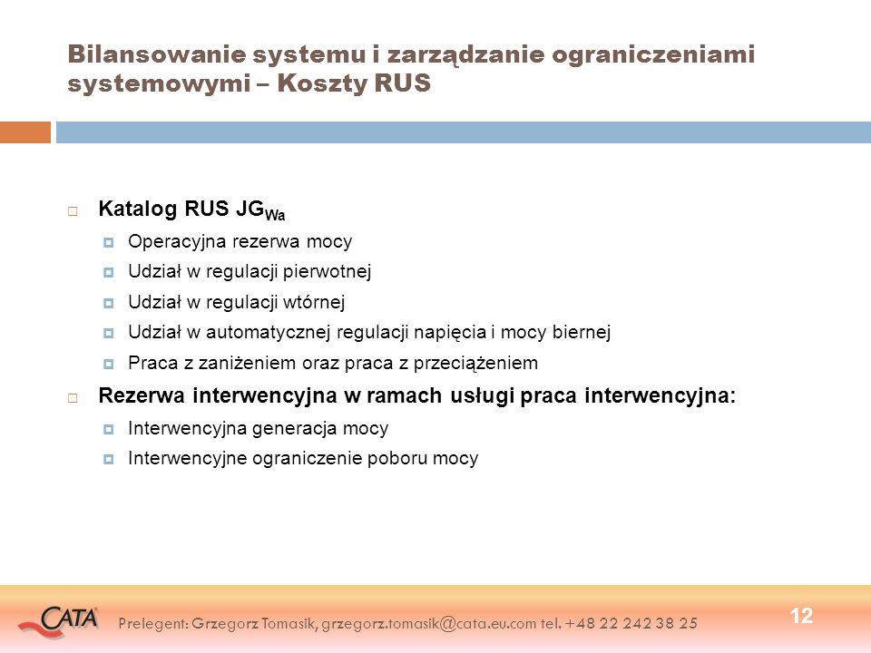 Bilansowanie systemu i zarządzanie ograniczeniami systemowymi – Koszty RUS