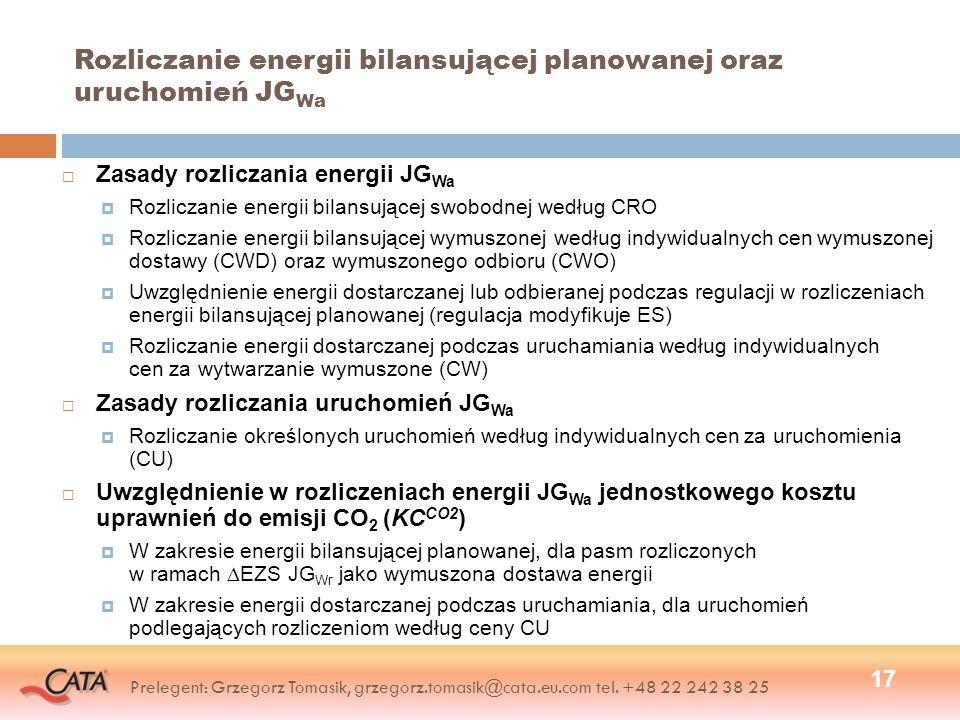 Rozliczanie energii bilansującej planowanej oraz uruchomień JGWa