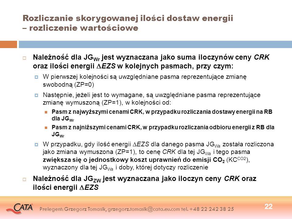 Rozliczanie skorygowanej ilości dostaw energii – rozliczenie wartościowe