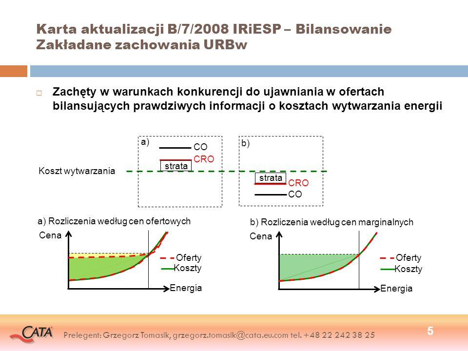 Karta aktualizacji B/7/2008 IRiESP – Bilansowanie Zakładane zachowania URBw