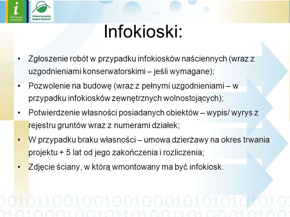 Infokioski: Zgłoszenie robót w przypadku infokiosków naściennych (wraz z uzgodnieniami konserwatorskimi – jeśli wymagane);