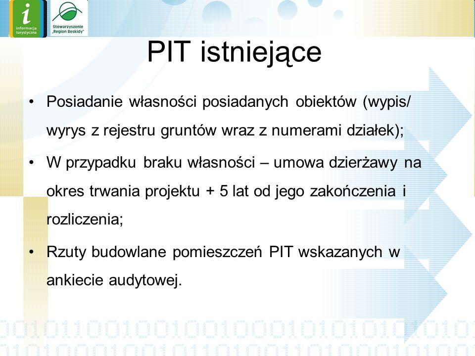 PIT istniejące Posiadanie własności posiadanych obiektów (wypis/ wyrys z rejestru gruntów wraz z numerami działek);