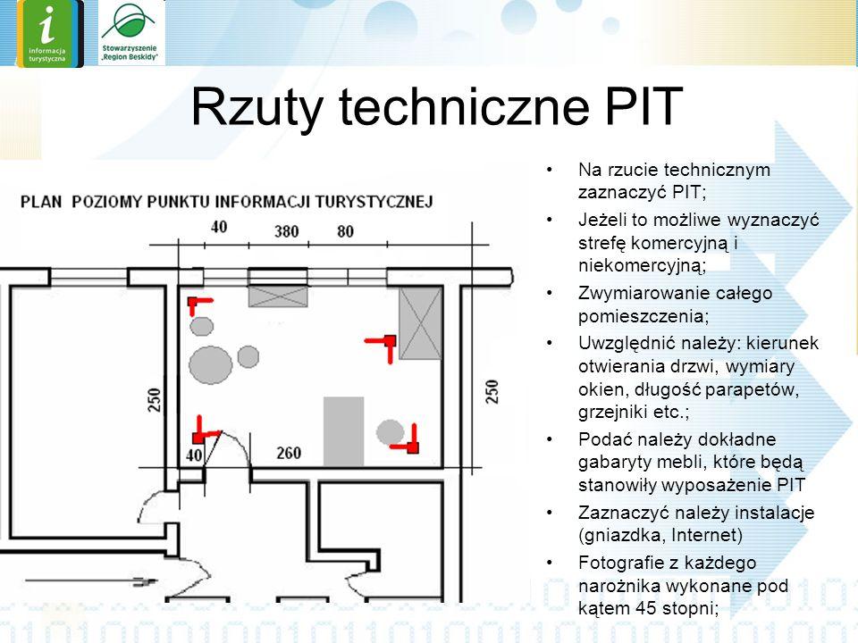 Rzuty techniczne PIT Na rzucie technicznym zaznaczyć PIT;