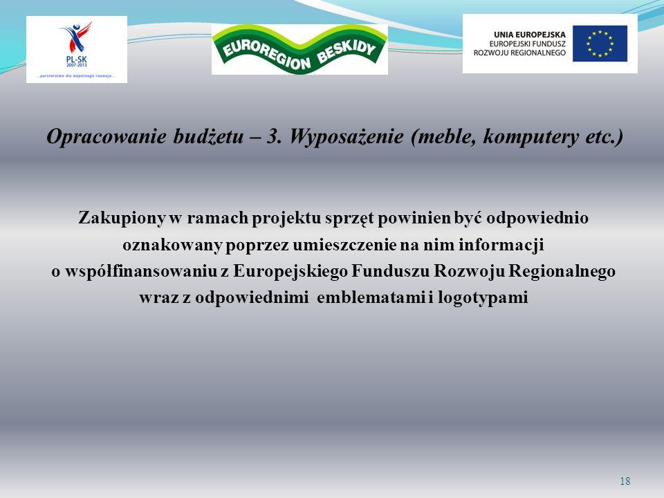 Opracowanie budżetu – 3. Wyposażenie (meble, komputery etc.)