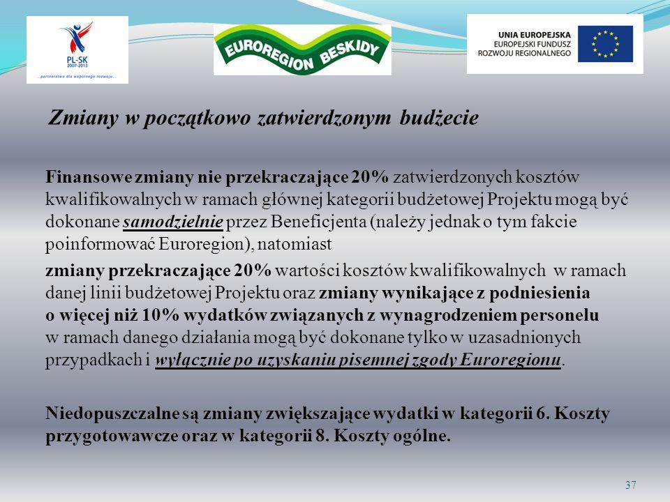 Zmiany w początkowo zatwierdzonym budżecie