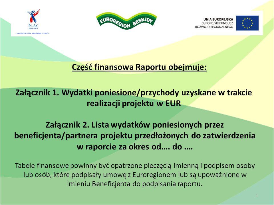 Część finansowa Raportu obejmuje: